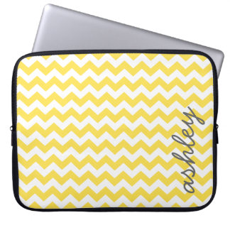 Trendy Chevron Pattern with name - yellow gray Laptop Sleeve