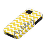 Trendy Chevron Pattern with name - yellow grey iPhone 4 Covers