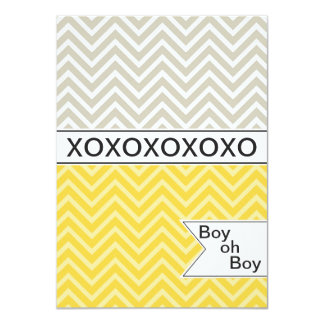 Trendy Chevron XOXO Baby Shower Invitation ~ Boys