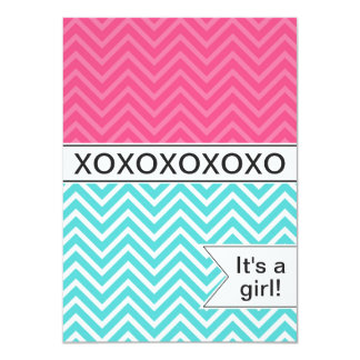 Trendy Chevron XOXO Baby Shower Invitation ~ Girls