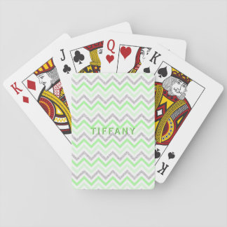 Trendy Chevron Zigzag Silver Glitter Lime Custom Playing Cards