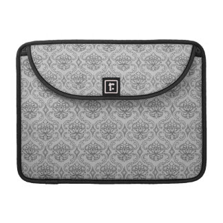 Trendy & Chic Black Grey Damask MacBook Pro Sleeve