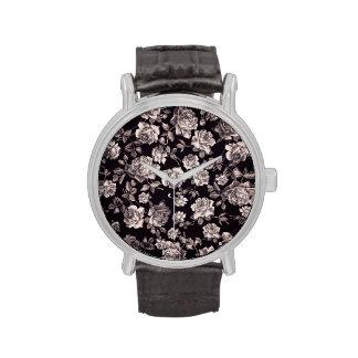Trendy Chic Black & White Vintage Elegant Floral Wristwatch