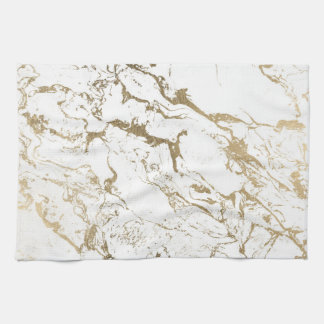 Trendy chic faux gold white marble pattern kitchen towel