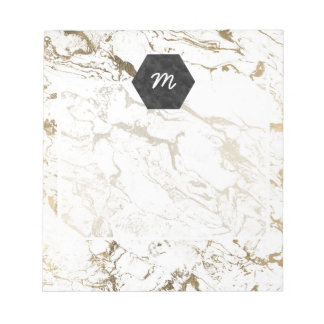 Trendy chic faux gold white marble pattern notepad