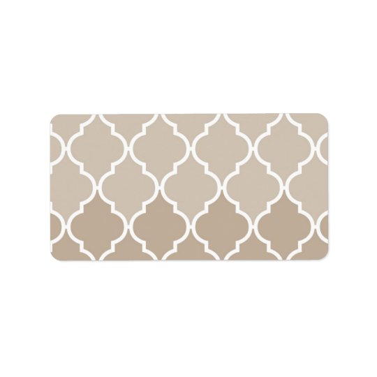 Trendy Chic Girly Cream Brown Quatrefoil Pattern