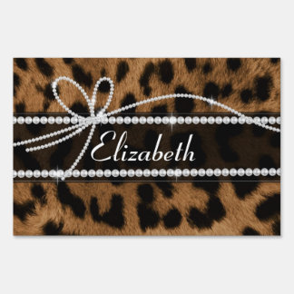 Trendy chic girly faux brown black leopard