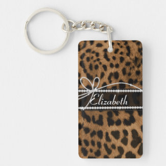 Trendy chic girly faux brown black leopard keychain