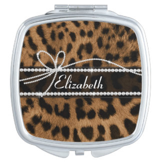 Trendy chic girly faux brown black leopard mirrors for makeup
