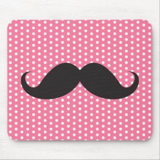 Trendy chic moustache pink polka dot dots pattern mouse pad