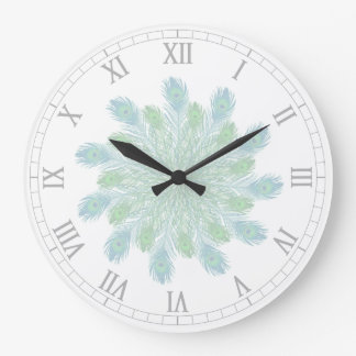 Trendy Chic Peacock Feathers Large Clock