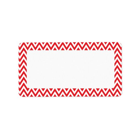 Trendy chic red chevron zigzag pattern label