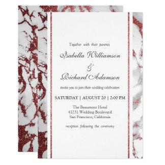 Trendy Chic Rose Gold Marble Wedding Celebration Card