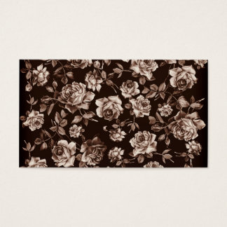 Trendy Chic Sepia Tone B&w Vintage Elegant Floral Business Card