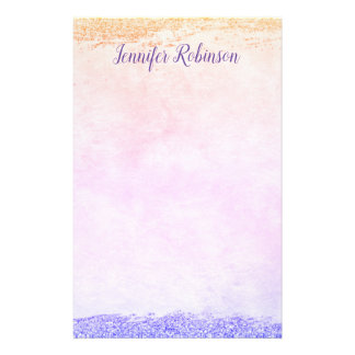 Trendy Chic Watercolor Glitter Rainbow Stationery