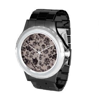 Trendy Chic White & Black Vintage Elegant Floral Watch