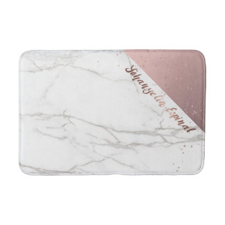 Trendy Chic White Marble Rose Gold Personalized Bath Mat
