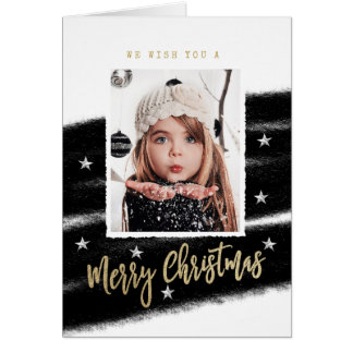 Trendy Christmas Card with Photo Black & White