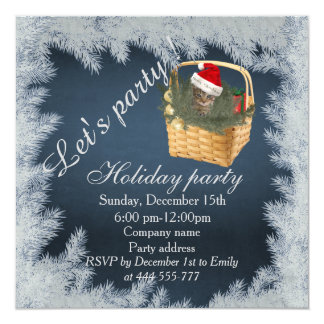 Trendy Christmas cute funny cat in the basket 5.25x5.25 Square Paper Invitation Card