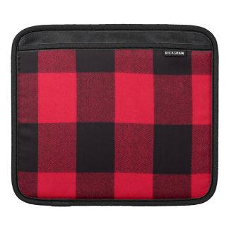 Trendy Christmas Red and Black Cozy Buffalo Plaid iPad Sleeve