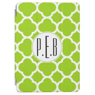 Trendy Citrus Green Quatrefoil Pattern Monogram iPad Air Cover