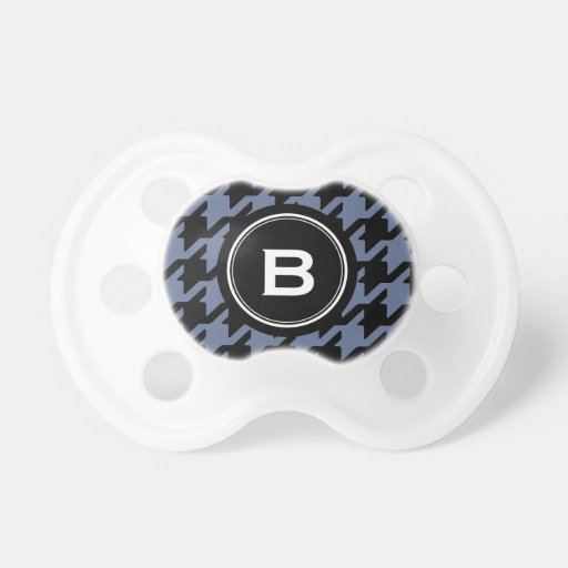 Trendy Classic blue grey houndstooth with monogram Pacifier