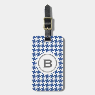 Trendy classic grey houndstooth with monogram bag tag
