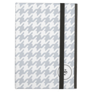 Trendy classic grey houndstooth with monogram iPad air cover