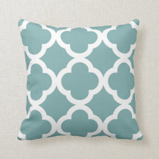 Trendy Clover Pattern in Sea Glass and White Throw Pillow