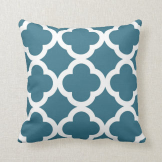 Trendy Clover Pattern in Teal Blue and White Throw Pillow