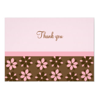 Trendy Cocoa Pink Flower Flat Thank You Note Cards