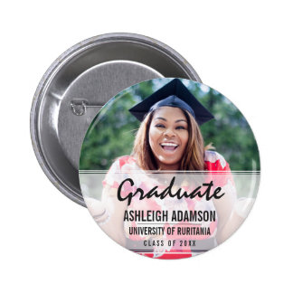 Trendy Colorful Chevrons Graduation Party 2 Inch Round Button