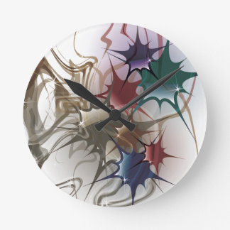 Trendy Colorful Ink Splash Round Clock