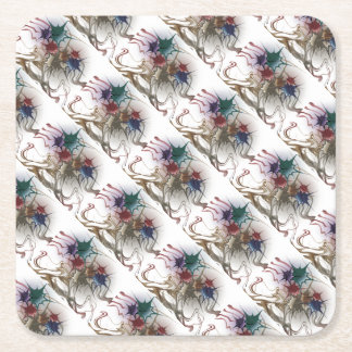 Trendy Colorful Ink Splash Square Paper Coaster