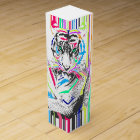 trendy colourful vibrant neon stripes tiger paint wine gift box