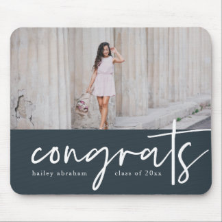 Trendy Congrats Graduation Photo Mousepad