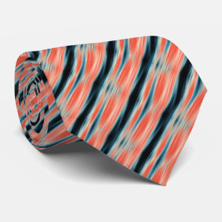 Trendy Cool Orange and Blue Pattern Tie