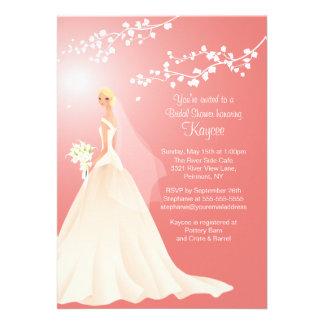 Trendy Coral BLONDE Bride Bridal Shower Invite