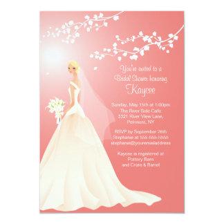 """Trendy Coral BLONDE  Bride Bridal Shower Invite 5"""" X 7"""" Invitation Card"""