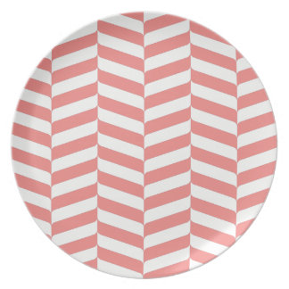 Trendy Coral Chevron Pattern | Melamine Plate