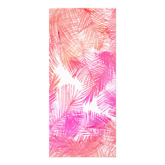Trendy coral pink watercolor hand drawn palm tree rack card