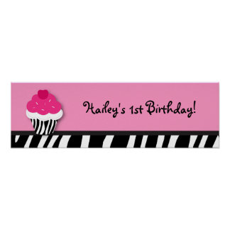 Trendy Cupcake Birthday Banner Sign