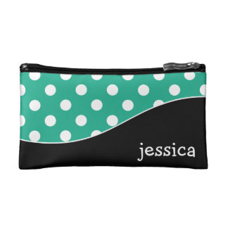 Trendy Curves and Polka Dots Personalized Cosmetic Bag