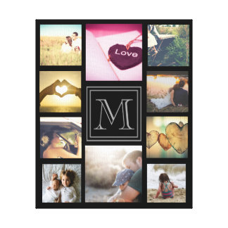 Trendy custom monogramed photo collage canvas print