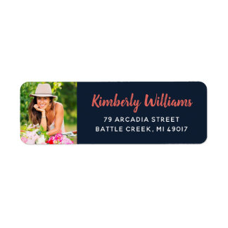 Trendy Custom Photo Graduation Return Address