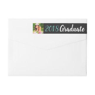 Trendy Custom Photo Graduation Return Address Wrap Around Label