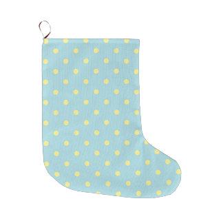 Trendy Cute  Aqua Yellow Polka Dots Pattern Large Christmas Stocking