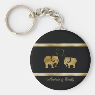 Trendy cute black /golden elephant in love keychain