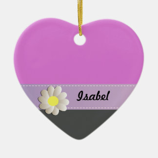 Trendy cute daisy pink gray ceramic heart ornament