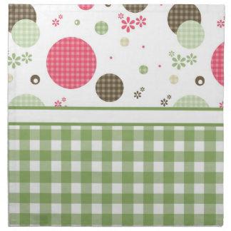 Trendy Cute Gingham And Polka Dots Cloth Napkin